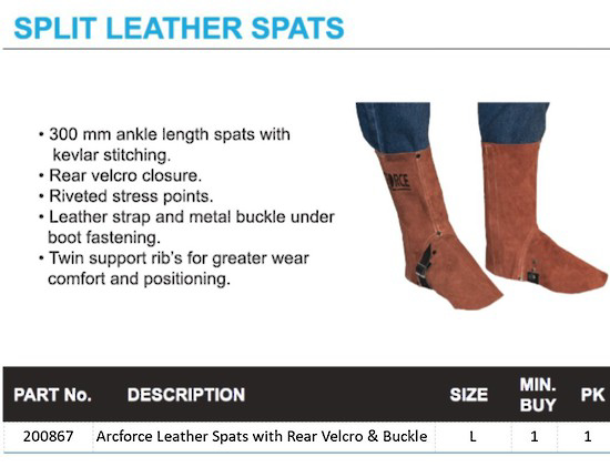Picture of Welder Spats with Buckle or Velcro Closure